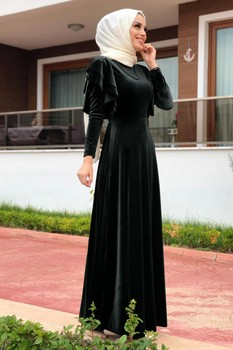 Long Dress Velour Dresses Muslim Turkish Clothes For Women Autumn Garment Moroccan Caftan Moroccan Tagine 3abaya hijabi robe image