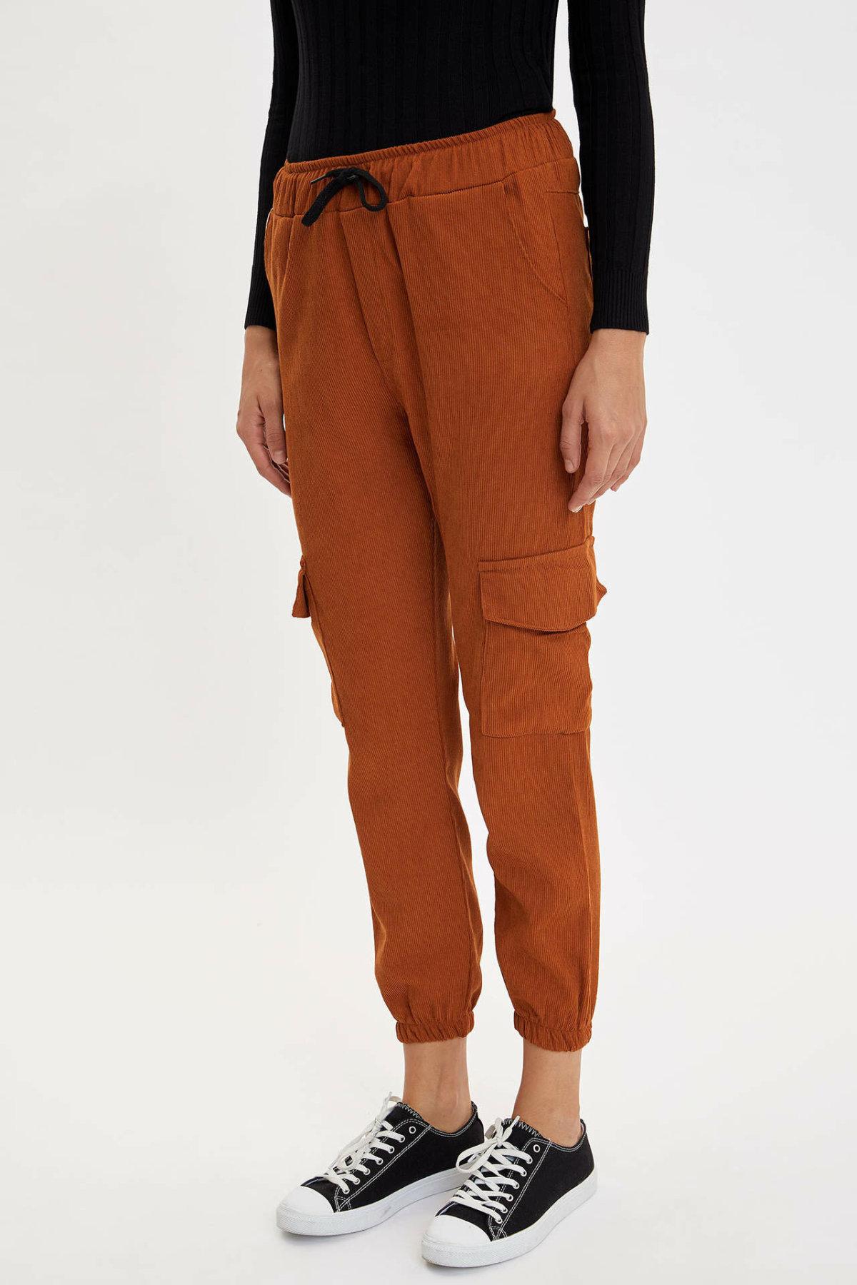 DeFacto Woman Autumn Brown Color Cargo Pants Women Casual Lace-up Bottoms Female Fit Trousers-M9447AZ19AU