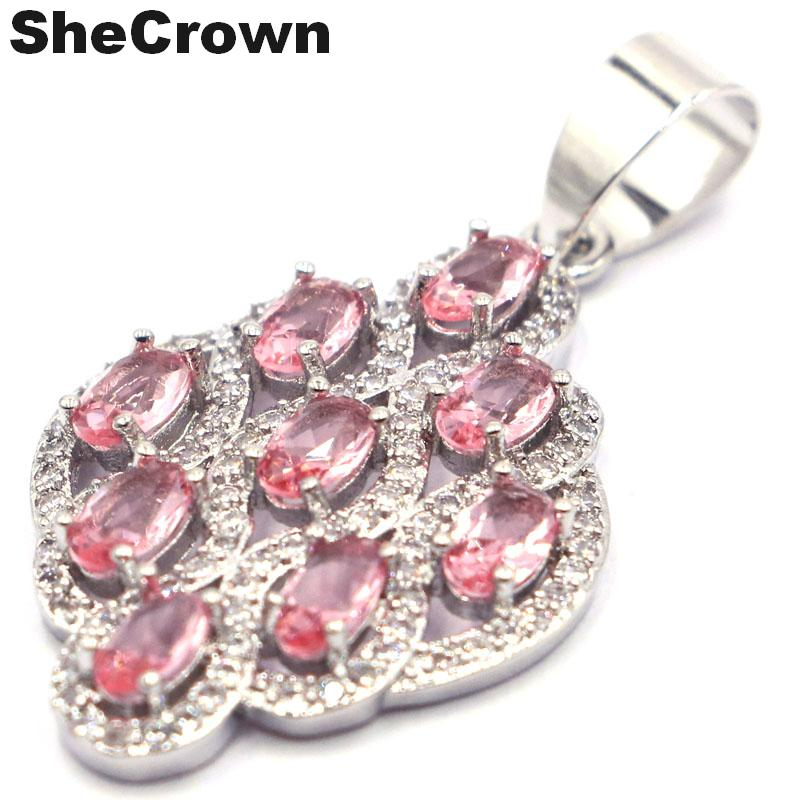 33x20mm Gorgeous Created Pink Morganite Natural CZ Woman's Wedding Silver Pendant
