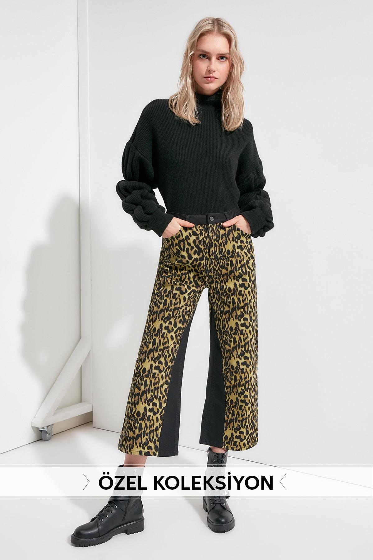 Trendyol Leopard Print High Waist Wide Leg Jeans TWOAW20JE0361