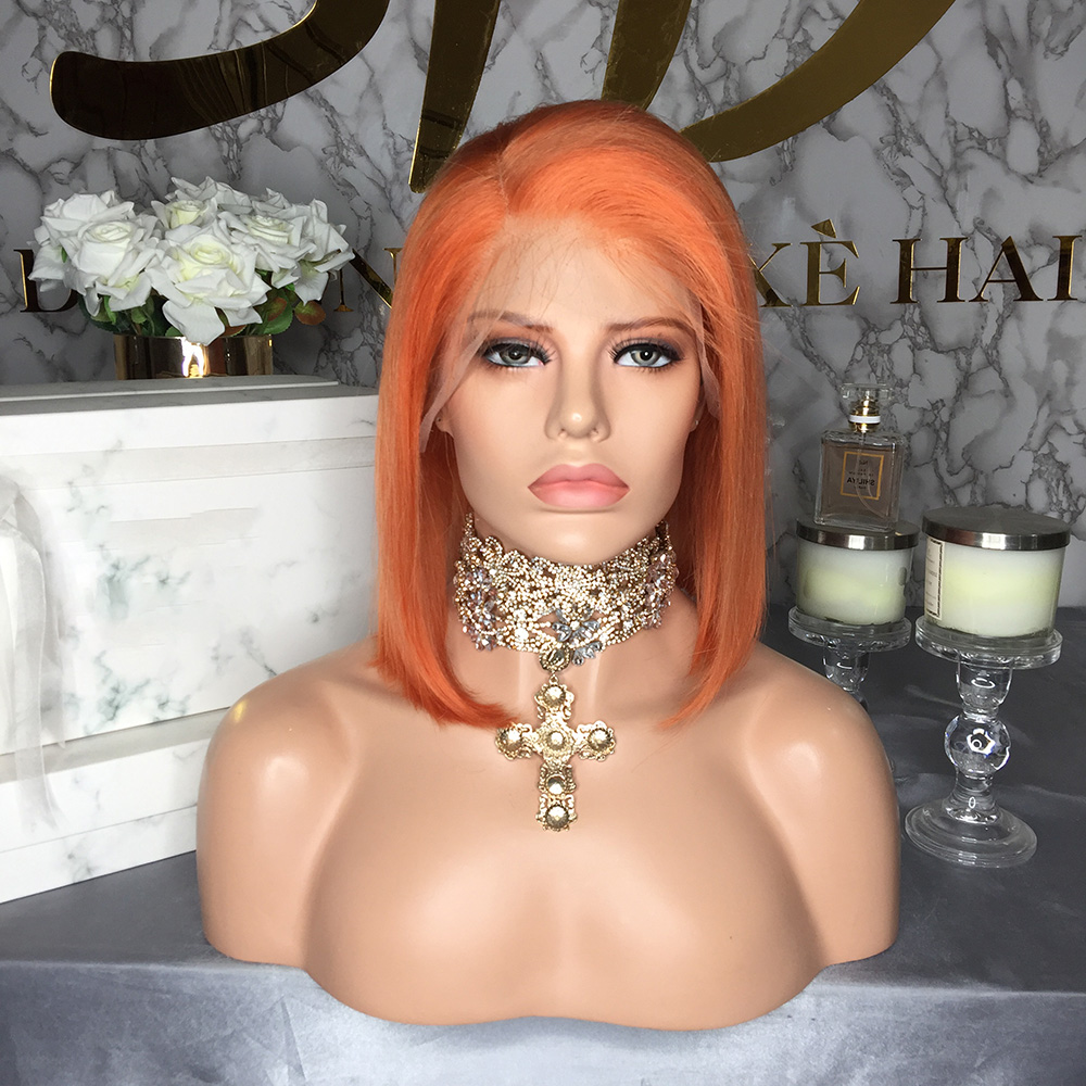 U3abc2dc2cd894c5f97ee09e1a668f048e JRX Hair Orange Pre-Colored Lace Front Wig 100% Human Hair Bob Wig Colored Pre Plucked Brazilian 13*4 Lace Front Wigs