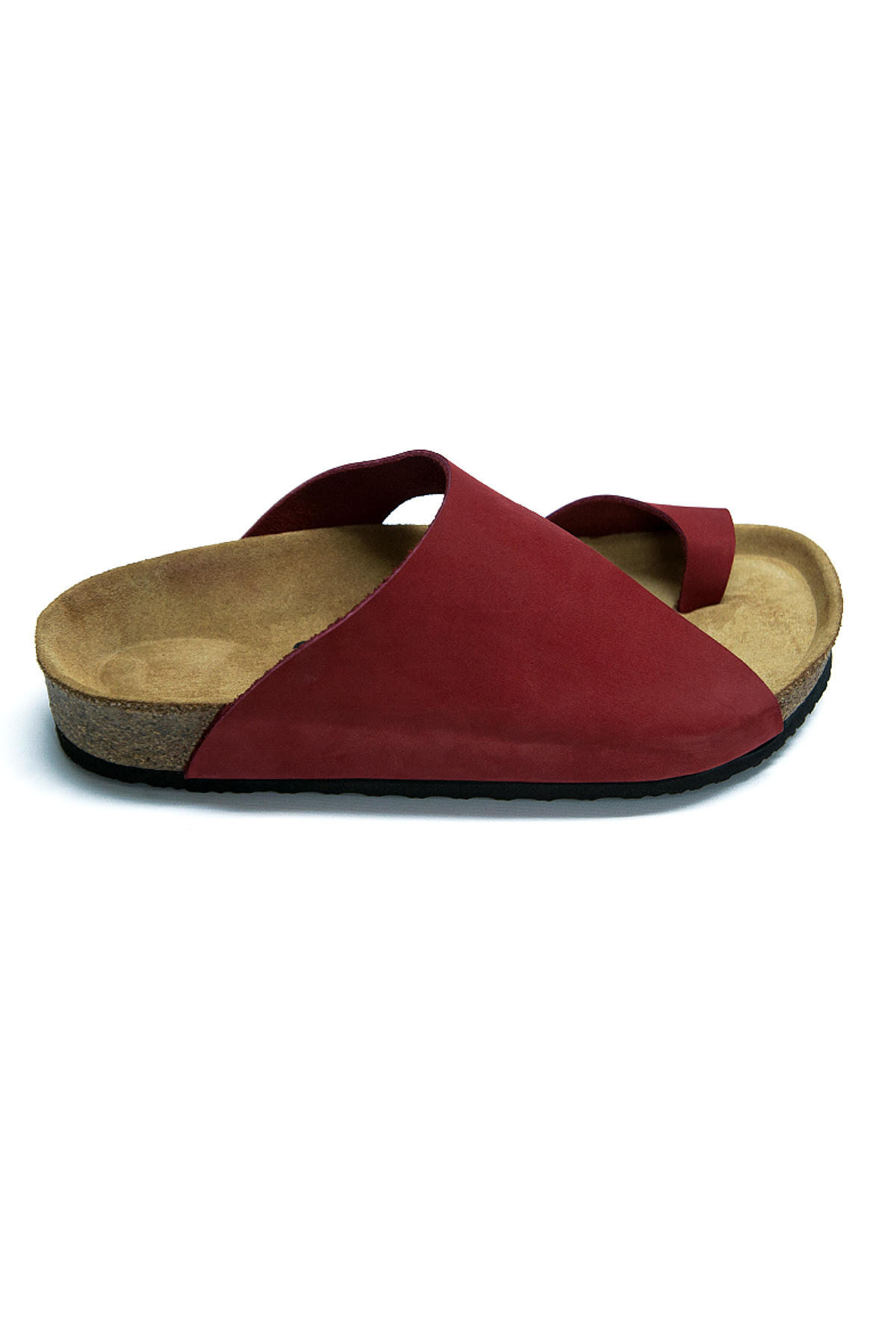 MAI Red Flip-Flops Anatomical Natural Cork Sole Real Leather Women Sandals
