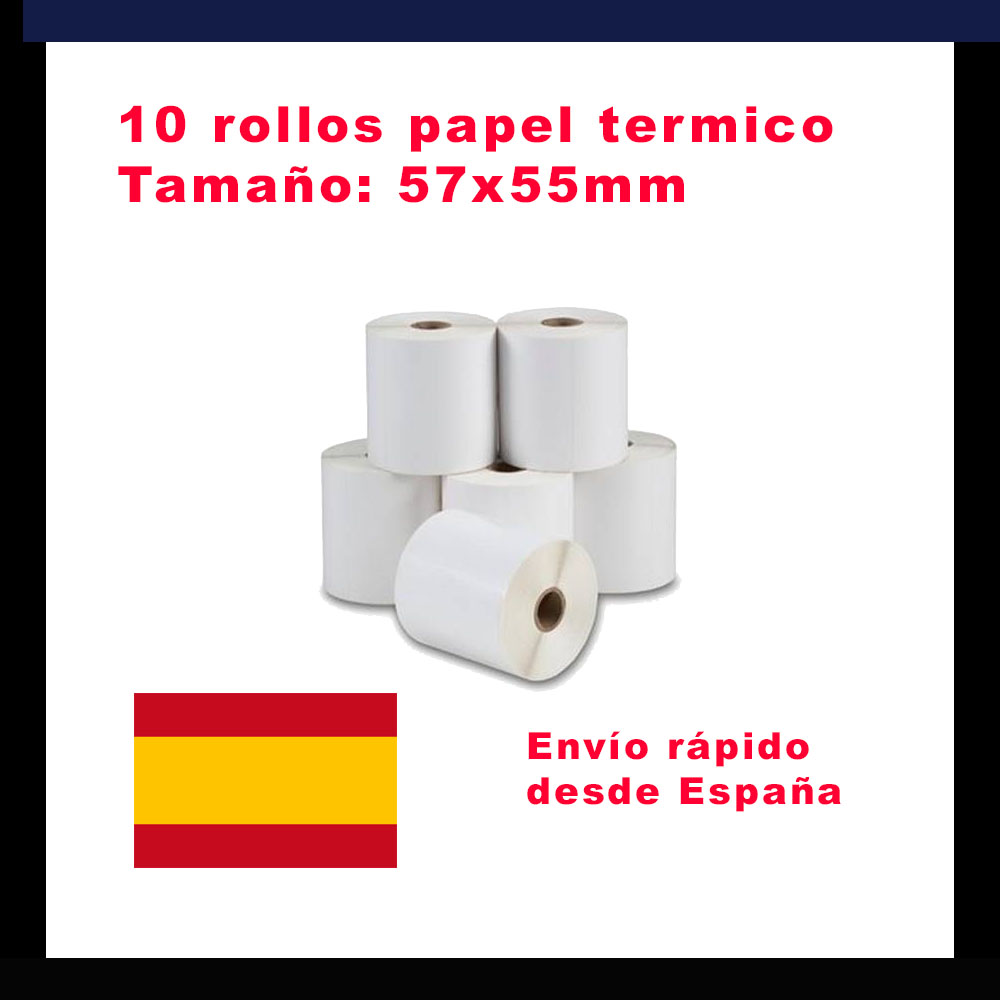 10 Paper Rolls Thermic From 57x55mm For Thermal Ticket Printers From 58mm. Paper For Printers Tpv For Invoices And Receipts