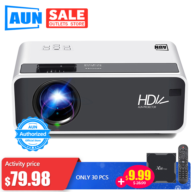 AUN LED HD Projector D60 | 1280x720P Resolution | Support 3D video Beamer, Home Cinema, title=