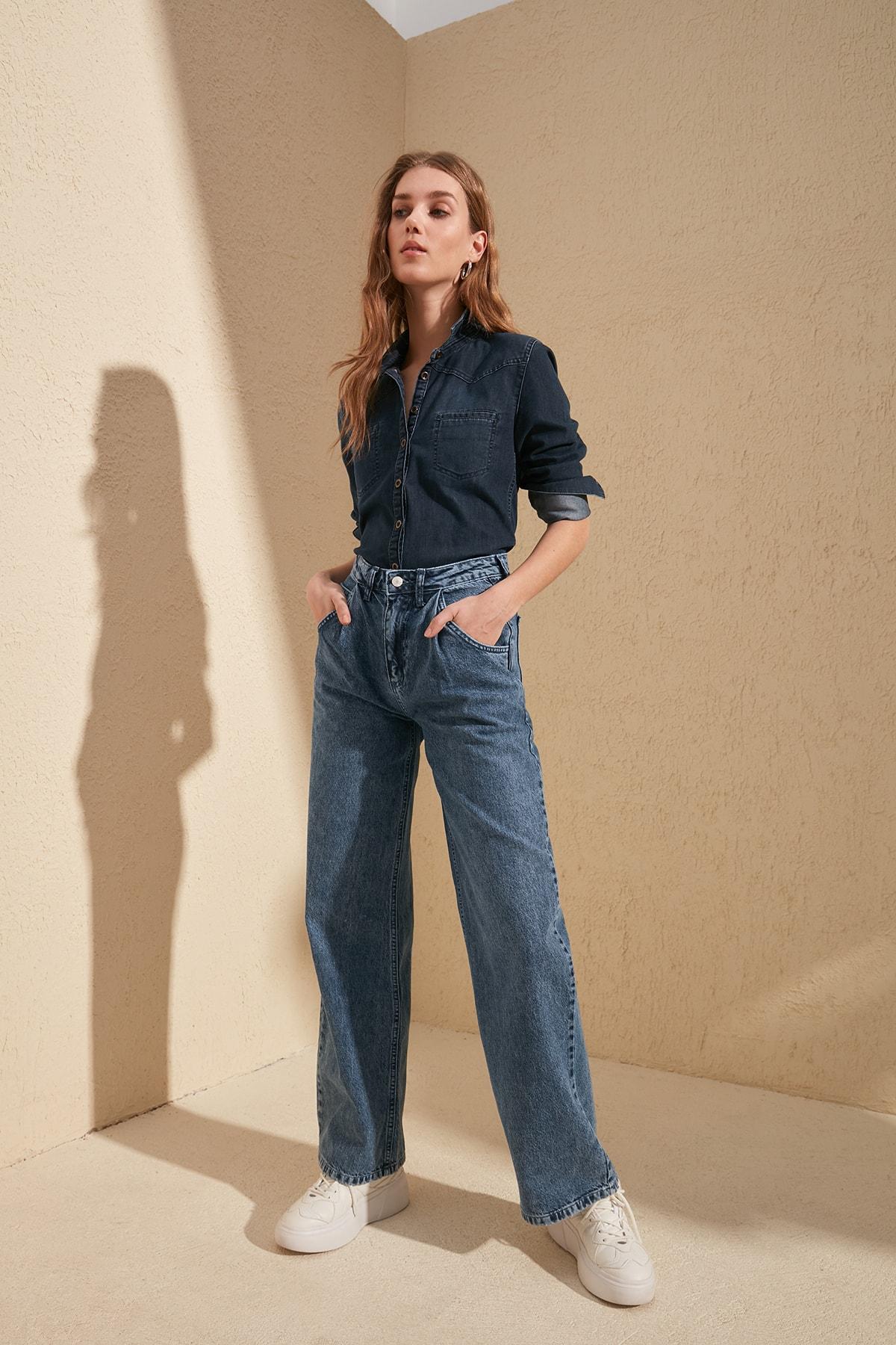 Trendyol Pleated High Waist Wide Leg Jeans TWOSS20JE0147