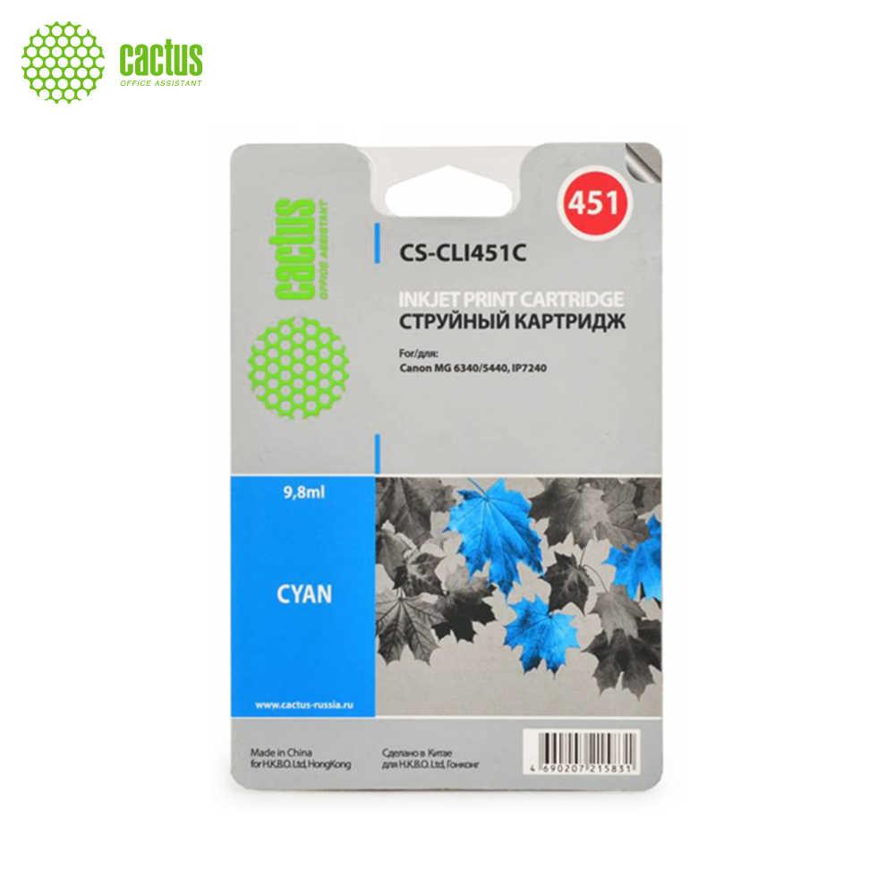 Картридж струйный Cactus CS CLI451C голубой (10.2мл) для Canon MG6340/5440/IP7240