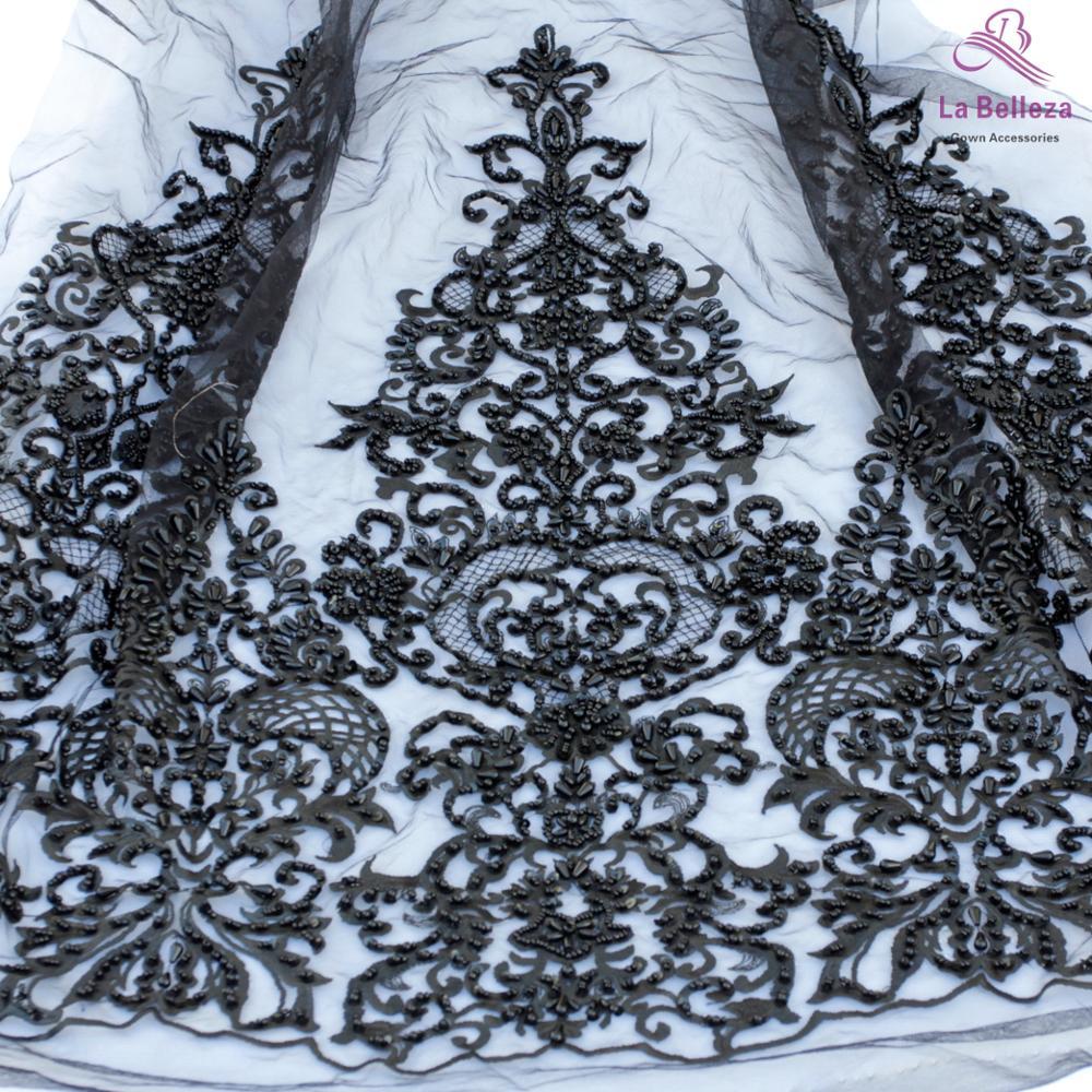 La Belleza 2019 nouveau 75cm largeur noir bilatéral perlé paillettes dentelle garniture magnifique dentelle garniture pour accessoires de mariée 1 yard - 2