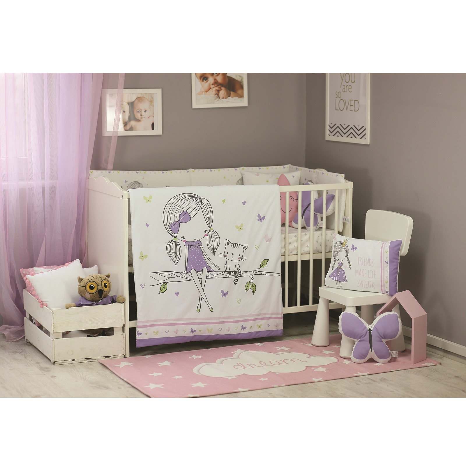 Ebebek Apolena Baby Unicorn Bed Filled Duvet Cover & Pillow Case 2 Pcs Set Keep Warm Bedding Set Children Twin 100% Cottotton