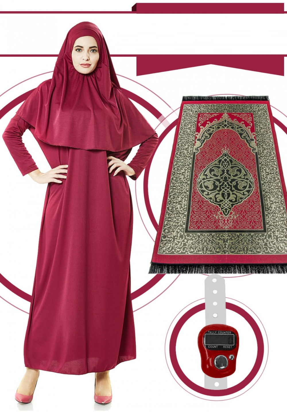LINA Women Praying Dress ONE PIECE with Hijab + Prayer Rug + Digital Tasbeeh (WITH BAG) Muslim Lady Prayer Islamic Abaya Easy