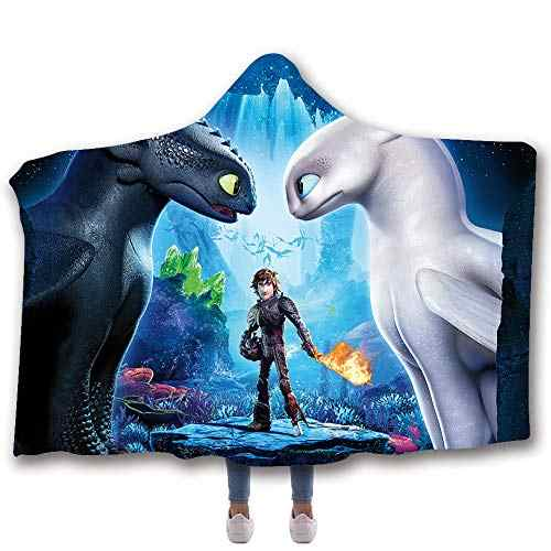 Anime How to Train Your Dragon Printed Plush Hooded Blanket For Adults Kid Warm Home Wearable Double layer Fleece Throw Blankets