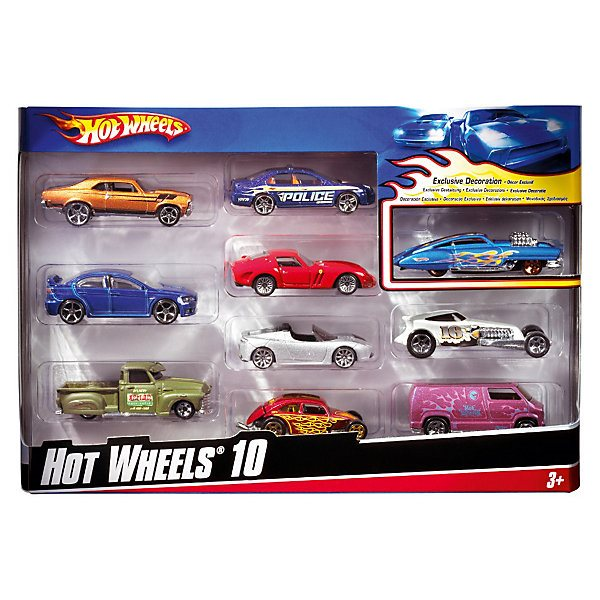 Set Metal Car Hot Wheels, 10 Pieces
