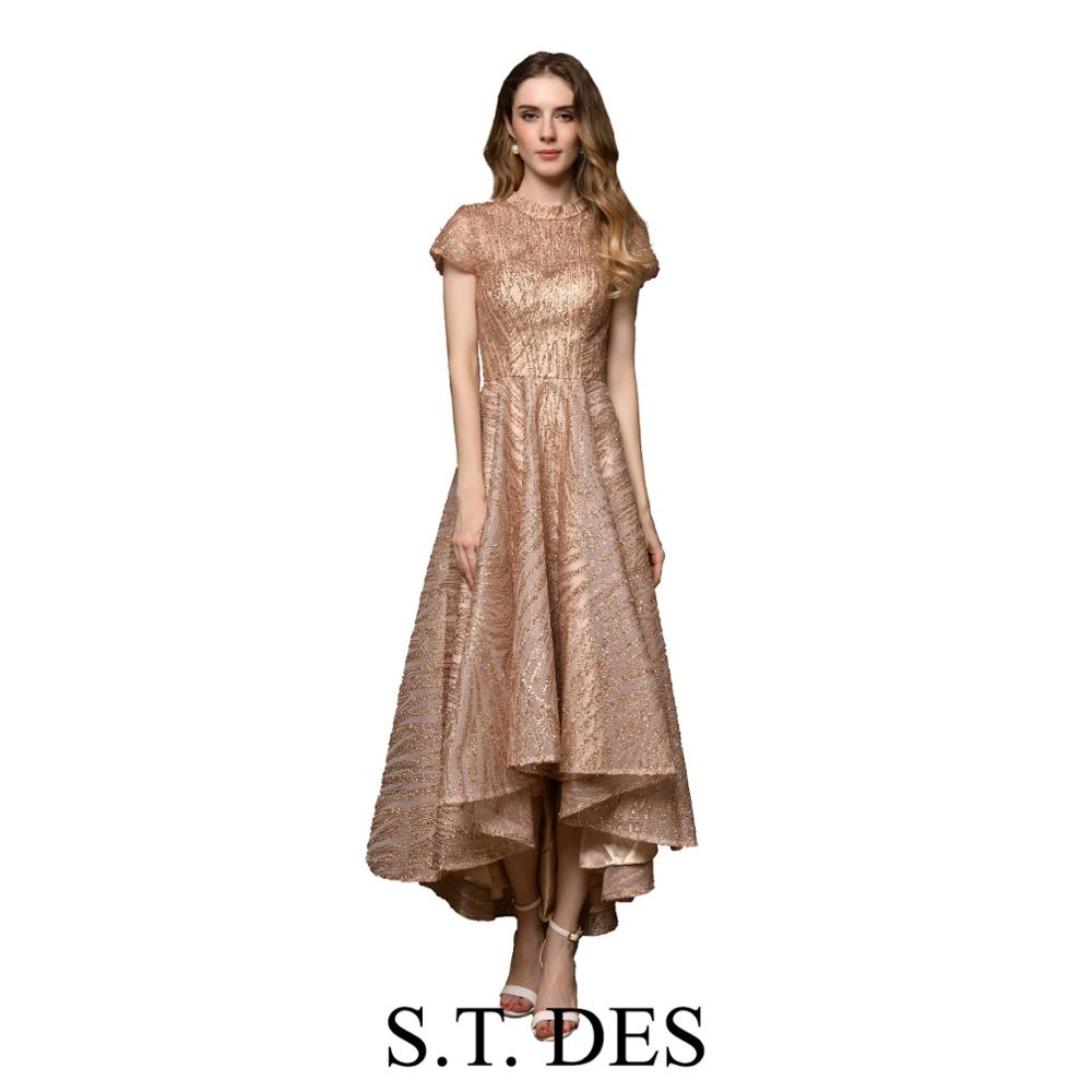 NEW 2020 St.Des A-line Russian Round Neck Champagne ShortSleeve Sequins Designer Elegant Floor Length Evening Dress Party Dress