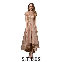 NEW 2020 St.Des A-line Russian Round Neck Champagne ShortSleeve Sequins Designer Elegant Floor Length Evening Dress Party Dress
