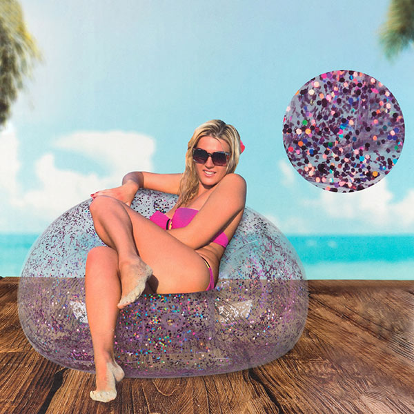 Inflatable Armchair With Pink Glitter