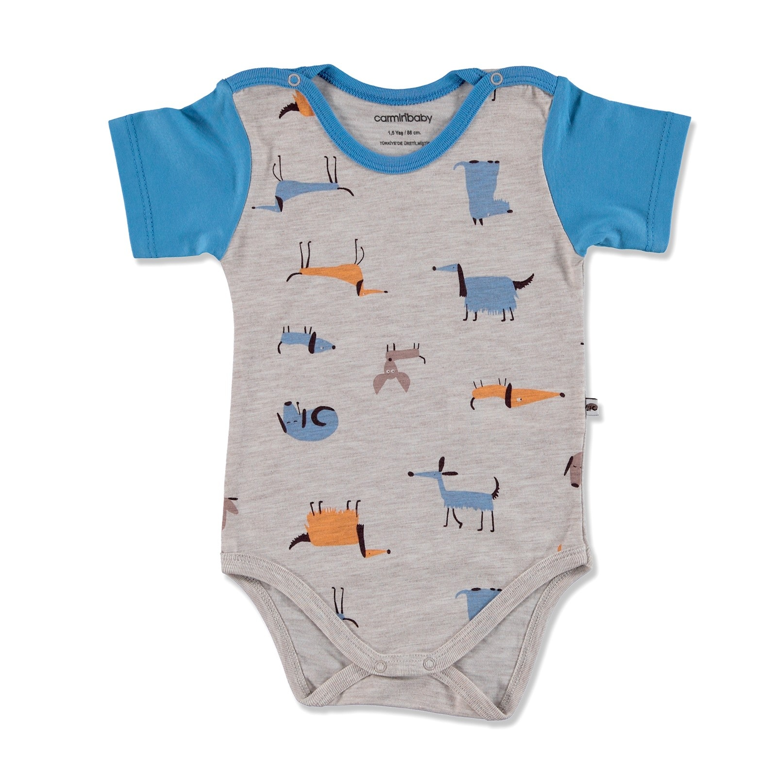 Ebebek Carmin Baby Summer Boy Dog Printed Supreme Short Sleeve Bodysuit