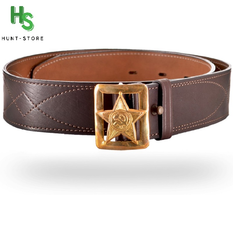 "Genuine leather army belt, Italian accessories without glare, does not ring ""star"" officer belt 50mm, 366 art