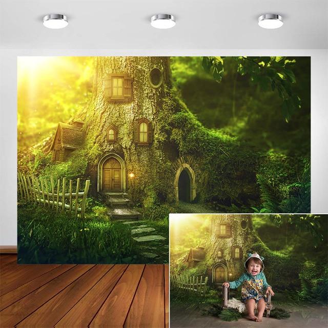 ファンタジージャングルの森の写真撮影の背景エルフパーティーの装飾ベビー肖像ための写真の背景写真フォトスタジオ
