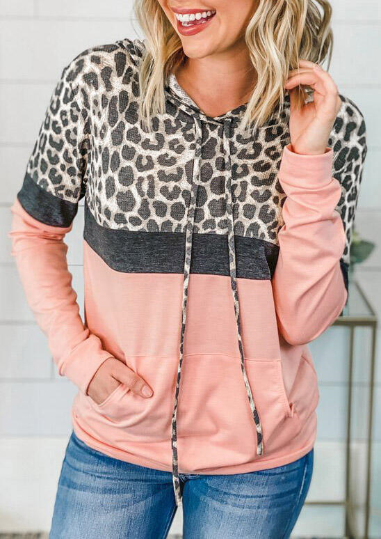 Women Animal Print Hoodies Hoody Hooded Sweatshirts Drawstring Pocket Blouse Top