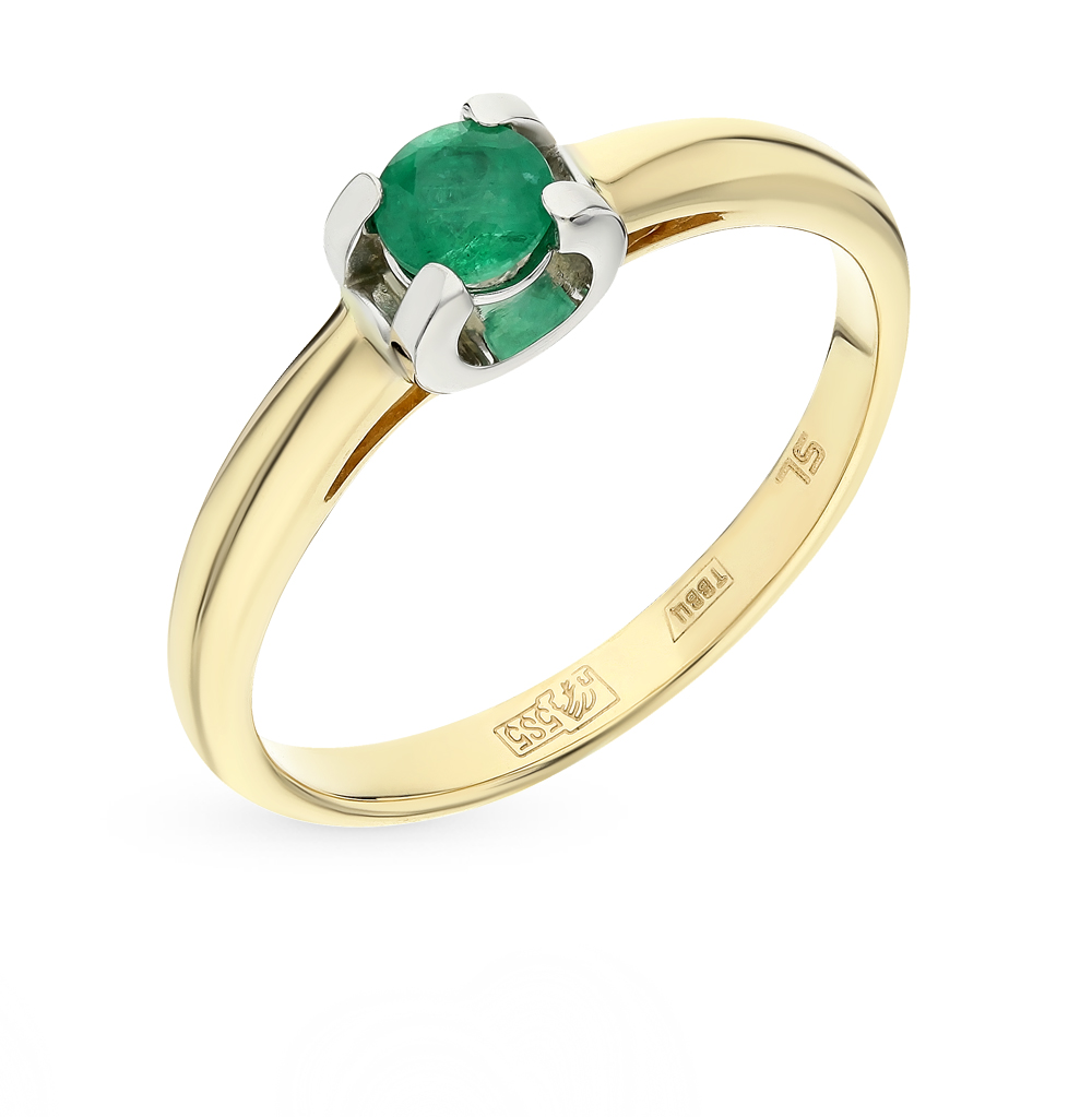 Gold Ring With Emerald SUNLIGHT Test 585