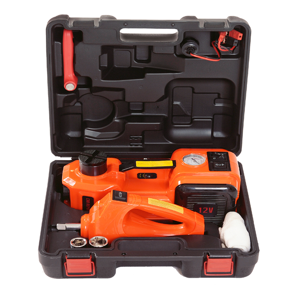 12v 5Tons Electric Hydraulic Floor Jack  Roadside Tire Change Tool Car Travelling Jack Kit With Impact Wrench And Air Pump