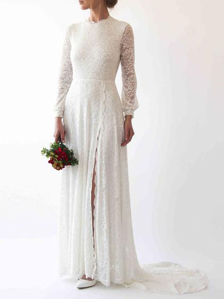 Simple Wedding Dress Lace Jewel Neck Long Sleeves Split Front Sheath With Train Bridal Dresses