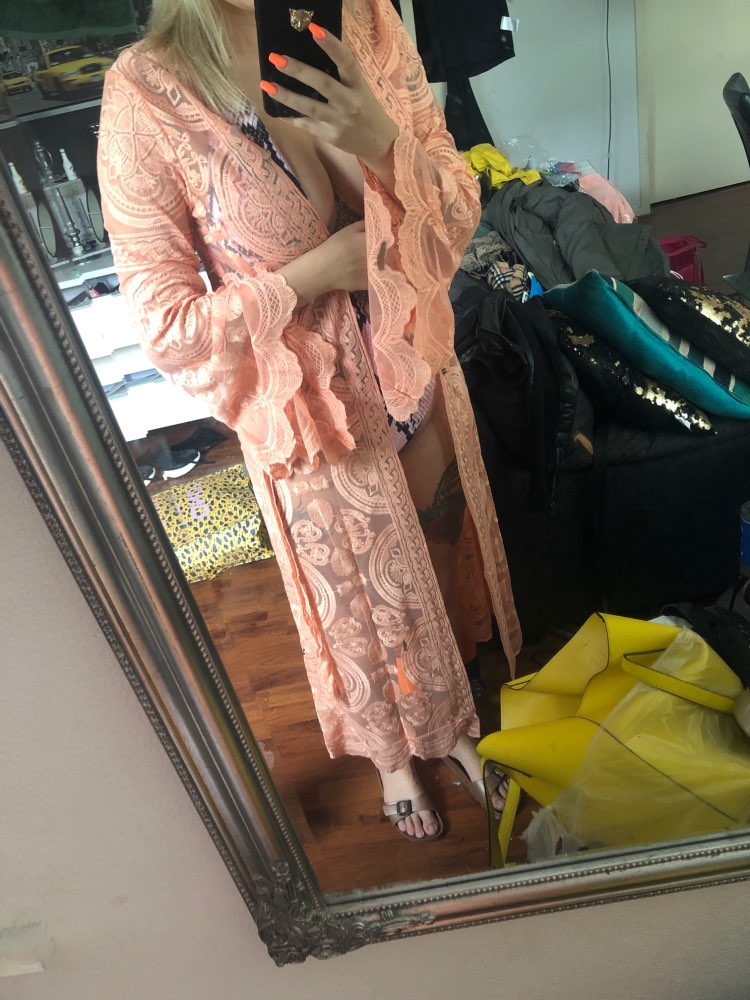 Vintage Kimono Lace Cardigan Women Dress Flare Sleeve Floral See Through Loose  Blouse Bohemian Maxi Long Beach Shirt Plus Size photo review