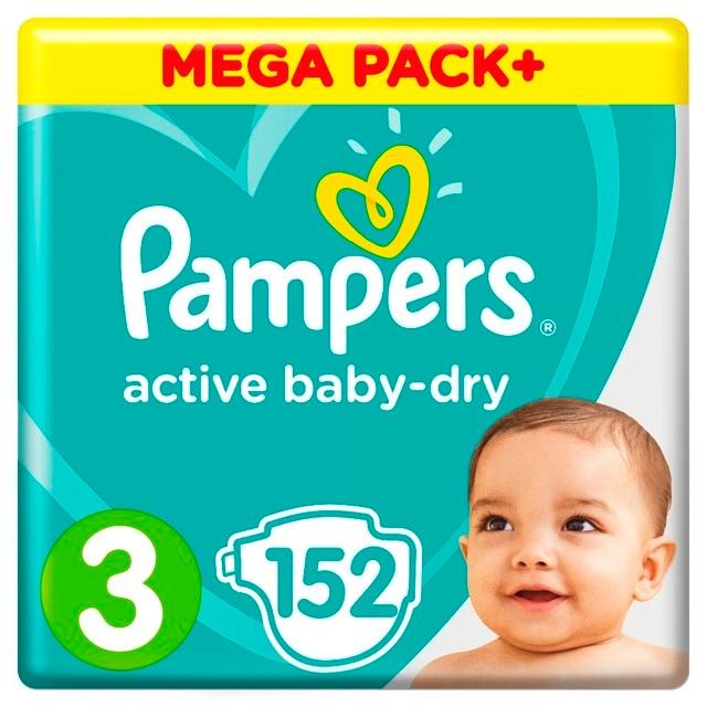Подгузники Pampers Active Baby-Dry 6-10 кг, 3 размер, 152 шт.