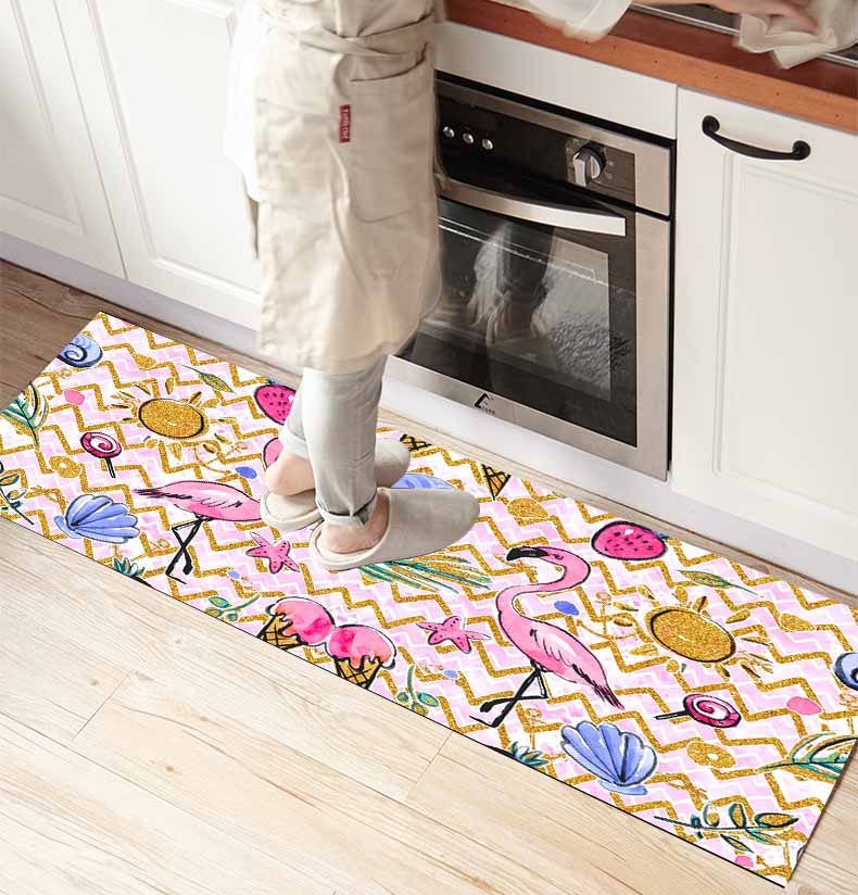 Else Pink Flamingo Summer Fruits 3d Print Non Slip Microfiber Kitchen Counter Modern Decorative Washable Area Rug Mat