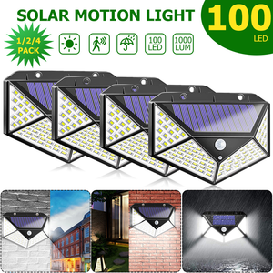 100/114 LED Light Four-Sided Solar Light 3 Modes  Angle Motion Sensor Wall Lamp Outdoor Waterproof Garden Lamps