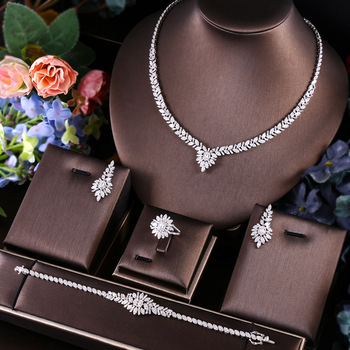 janekelly 4pcs Bridal Zirconia Full Jewelry Sets For Women