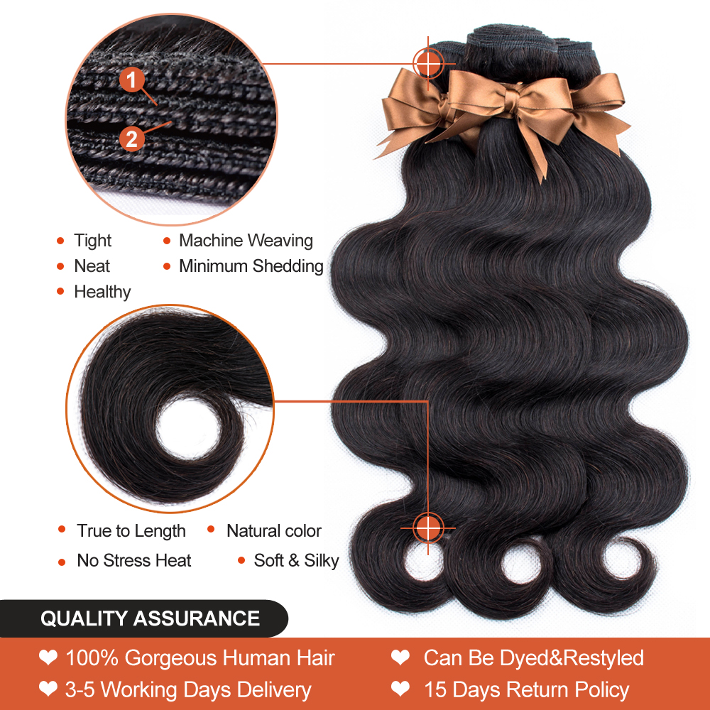 BEAUDIVA Brazilian Hair Body Wave 3 Bundles With Closure Human Hair Bundles With Closure Lace Closure BEAUDIVA Brazilian Hair Body Wave 3 Bundles With Closure Human Hair Bundles With Closure Lace Closure Remy Human Hair Extension