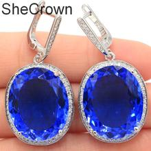 Big 17.5g Oval Gemstone 22x18mm Created Violet Tanzanite CZ Womans Party Silver Earrings 40x20mm