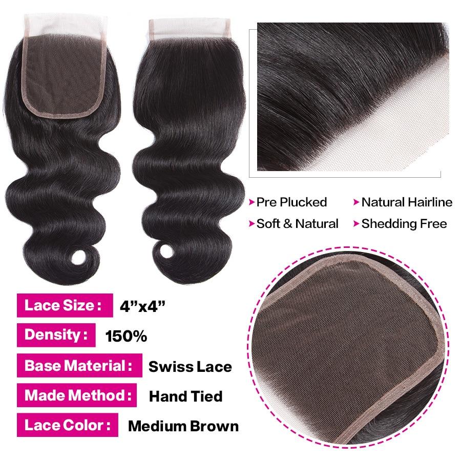 U3b4d45cb90ef4f1a81939032c2d419dbJ Cynosure Brazilian Hair Weave 3 Bundles With Closure Double Weft Body Wave Human Hair Bundles With Closure Remy Medium Ratio