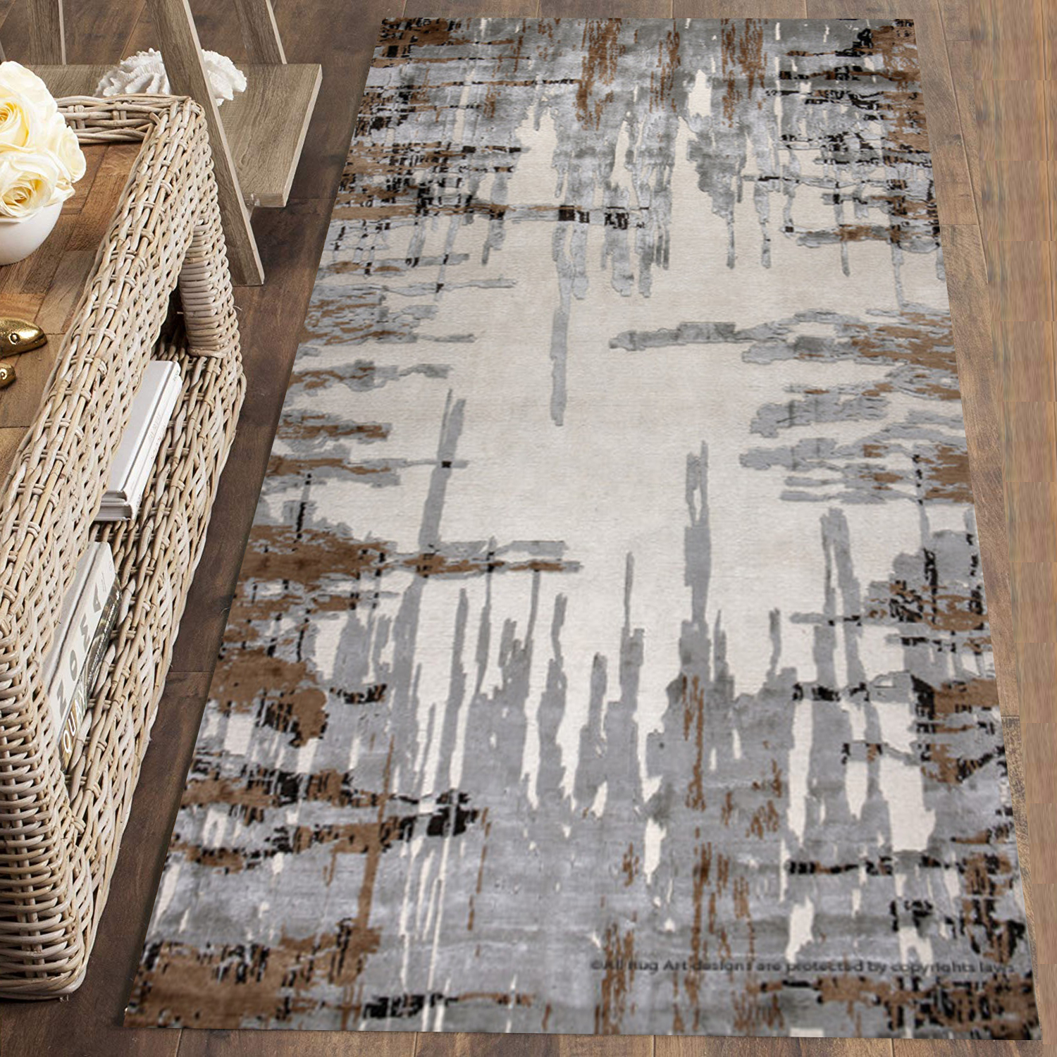 Else Brown Gray Lines Retro Nordec Modern 3d Print Non Slip Microfiber Washable Long Runner Mat Floor Mat Rugs Hallway Carpets
