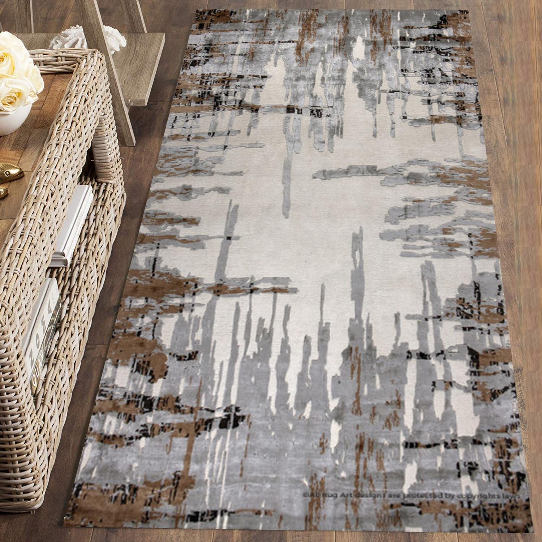 Else Brown Gray Lines Retro Nordec Modern 3d Print Non Slip Microfiber Washable Long Runner Mat Floor Mat Rugs Hallway Carpets