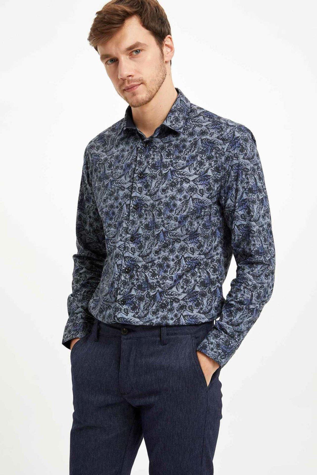 DeFacto Vintage Floral Prints Men Shirts Winter Man Long Sleeve Top Shirt Men Casual Smart Shirts-M2869AZ19WN