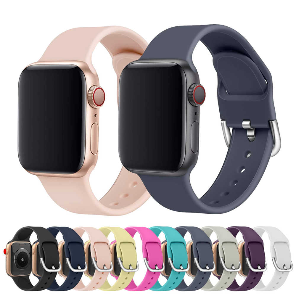 Silikon kayış apple watch 5 4 bant correa apple İzle 44mm 40mm 42mm 38mm iwatch 5 4 3 2 1 bilezik watchband kemer