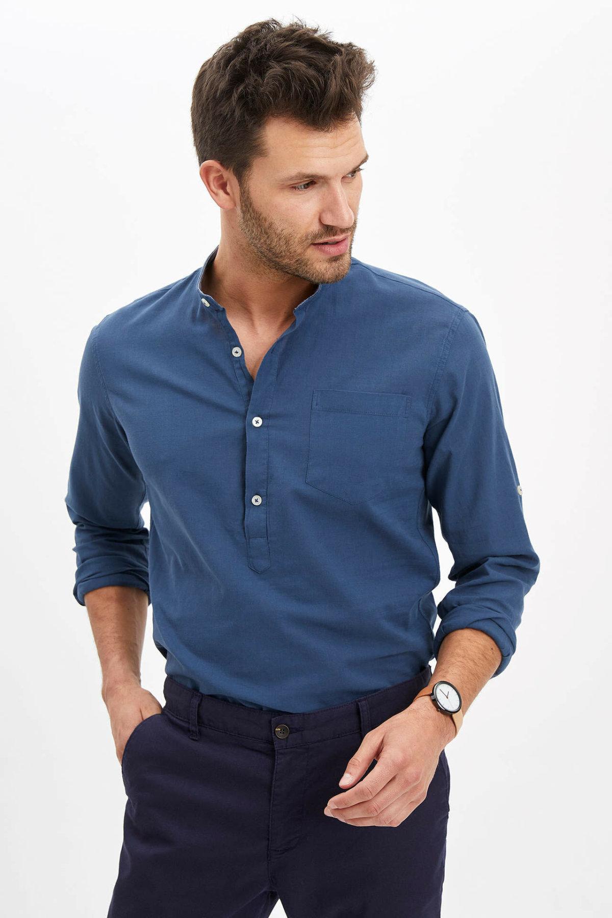 DeFacto Man Long Sleeve Shirt Men Smart Casual Shirts Summer Solid Color Shirts For Men White Shirts Men's Shirt-M9434AZ20SM
