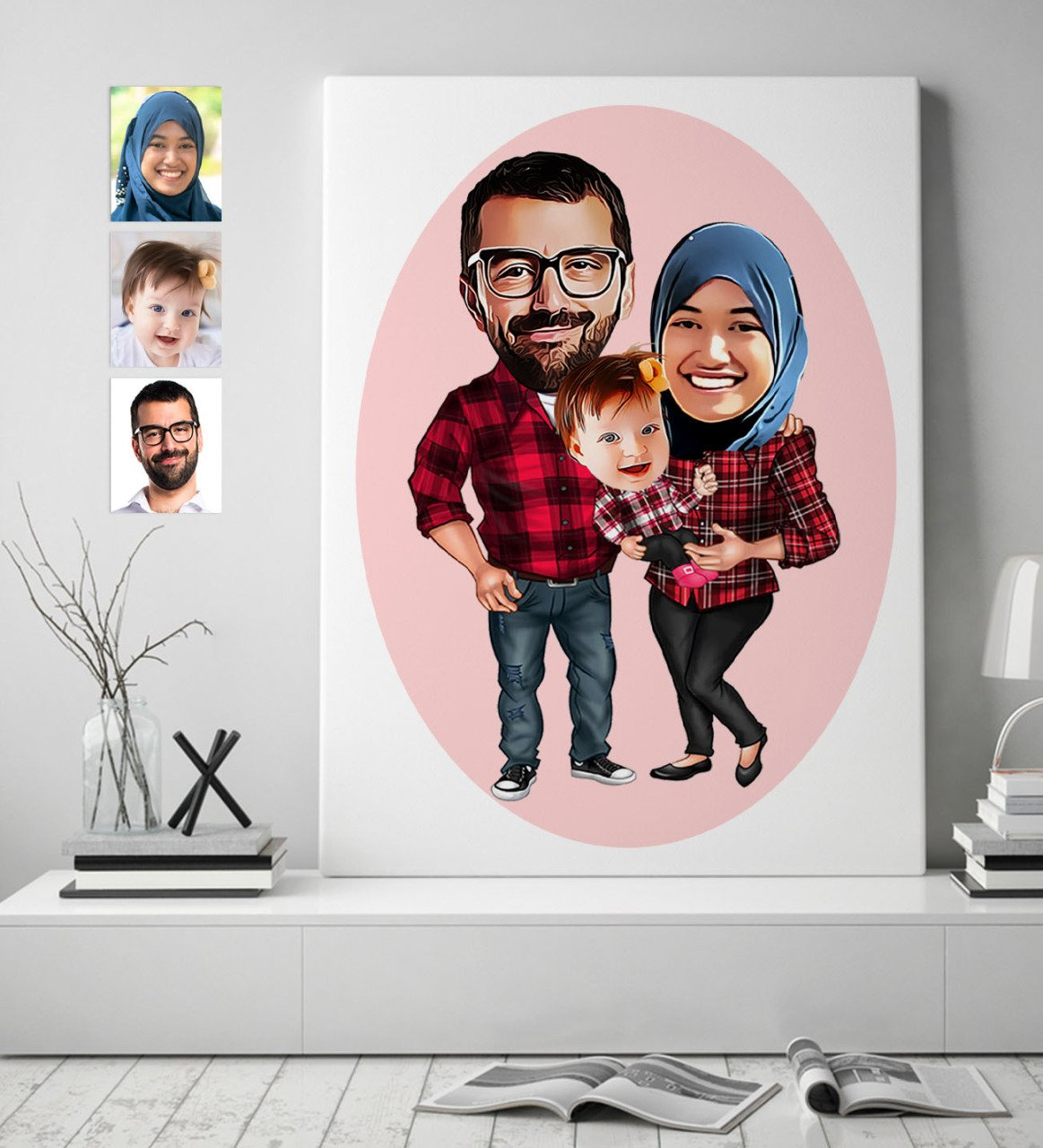 Personalized Family Caricature Of Canvas print (50x70 cm.) 2