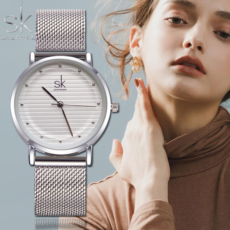 Shengke 2019 Top Brand Luxury Silver Watch Women Watches Fashion Women's Watches Steel Ladies Watch Clock Relogio Reloj Mujer
