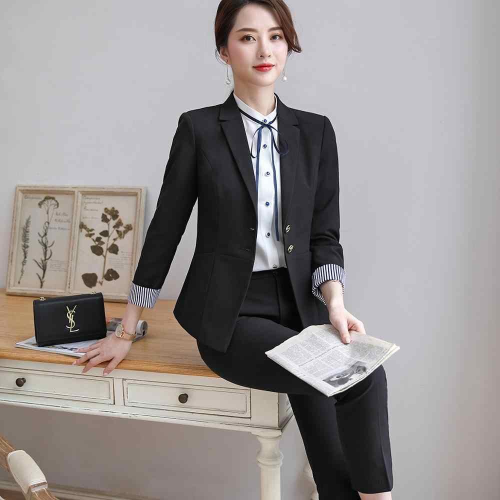 新到着レッド女性パンツスーツフォーマル服二枚セット黒パンツとブレザーオフィスレディ仕事