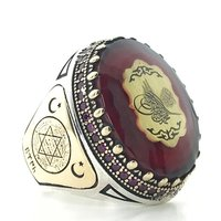 Amber and Ruby Stone Custom Silver Men 'S Ring