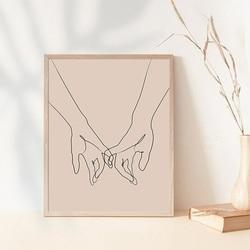 Pinky Swear One Line Drawing Art Print Minimalist Couple Love Decor Modern Wall Art Canvas Painting Poster Bedroom Home Decor