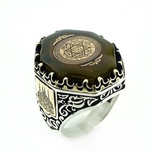 Star Solomon Ring Amber Stone Ring Silver Men's Ring Custom Jewelry Men Ring Hand Accessary luxury Jewelry Ring Silver