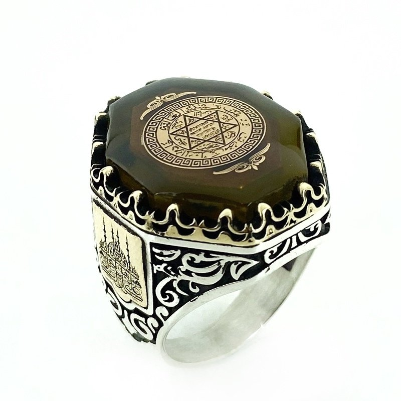 Star Of David Solomon Seal Amber Stone Custom Silver Men 'S Ring