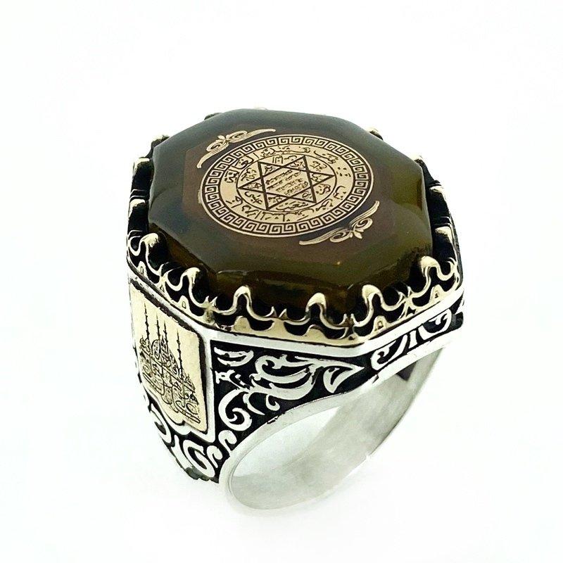 Star Of David Solomon Seal Amber Stone Custom Silver Men 'S Ring