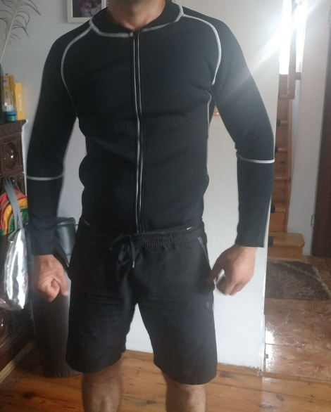 Men Neoprene Sauna Workout Jacket photo review