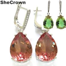 35x13mm Special Drop Shape 18x13mm Created Color Changing Spinel CZ Gift For Ladies Silver Earrings