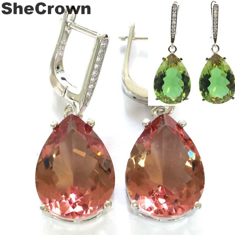 35x13mm Special Drop Shape 18x13mm Created Color Changing Spinel Zultanite CZ Gift For Ladies Silver Earrings