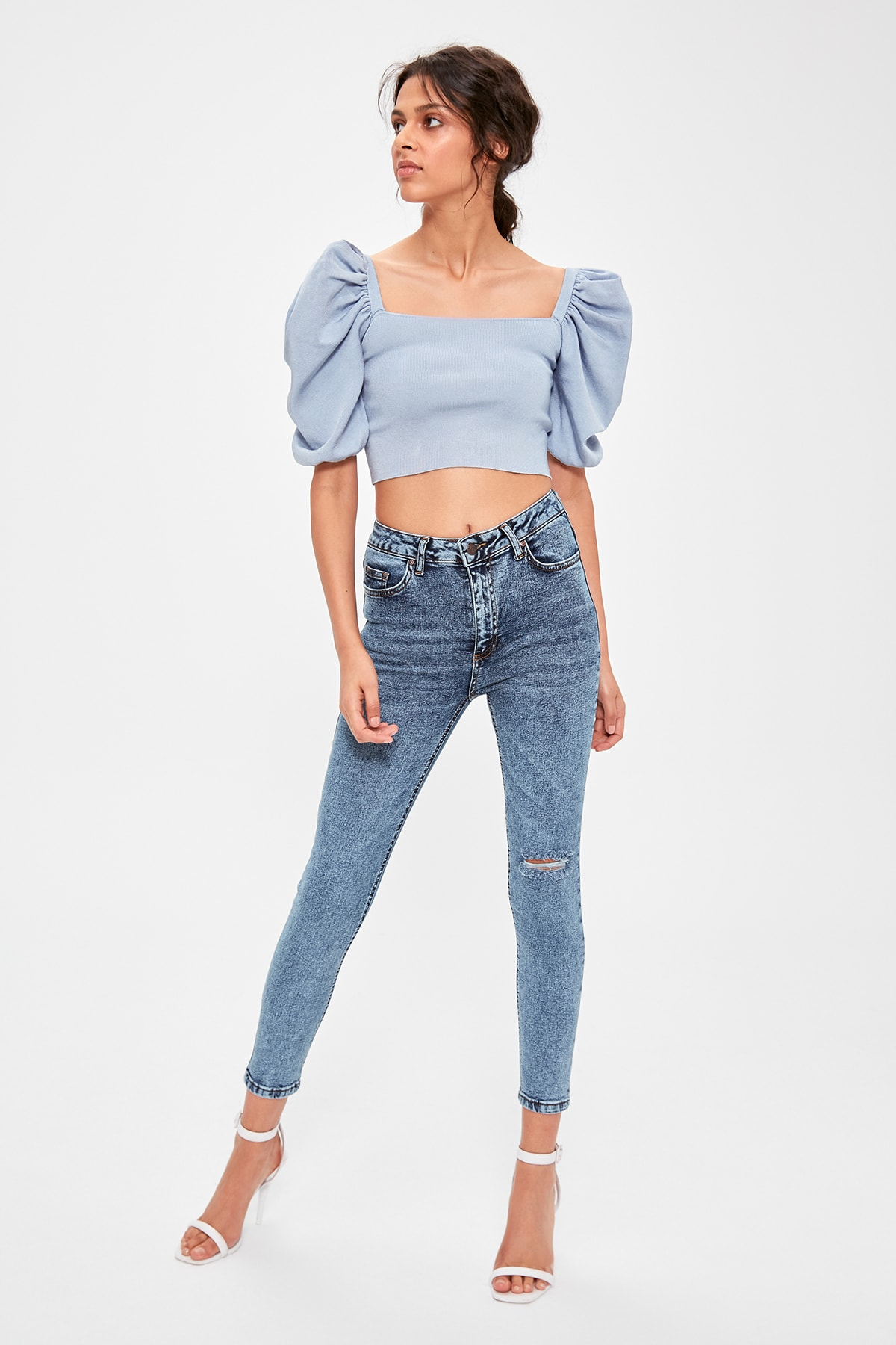 Trendyol Blue Ripped Detailed High Waist Skinny Jeans TWOAW20JE0225